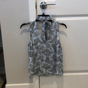 Paisley blouse with built in choker